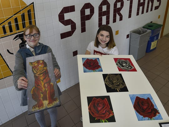 Luxemburg-Casco art students Dasha Drevenchuk, left,
