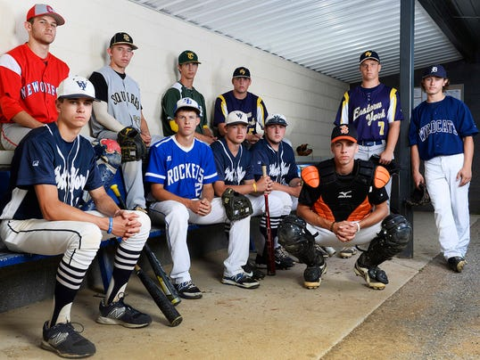 The GameTimePA.com YAIAA baseball all-stars are, from left, back row: New Oxford's Keegan Romanoff, Delone Catholic's Austin Kuntz, York Catholic's Jake Krevetski and Eastern York's Colby Shimmel; front row: West York's Cash Glatfelter, Spring Grove's Matt Brooks, West York's Brett Kinneman, West York's Logan Stover, Eastern York's Brandon Knarr and Dallastown's Tye Golden; and squatting: York Suburban's Thomas Merkle.
