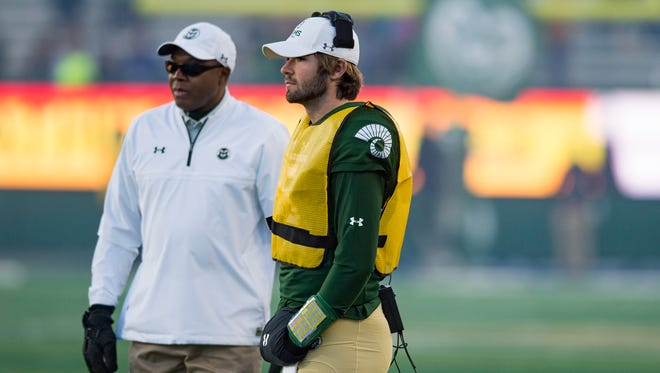 CSU quarterback Colin Hill stands on the sideline during a game against San Jose State at CSU Stadium on Saturday. Hill, the presumed 2018 starter, will be a redshirt sophomore after not playing in the 2017 season.