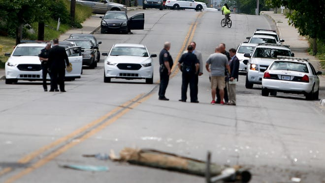 Scene of an accident after an IMPD police pursuit, located near East 33rd St. and North Sherman Dr., on Wednesday, May 30, 2018.