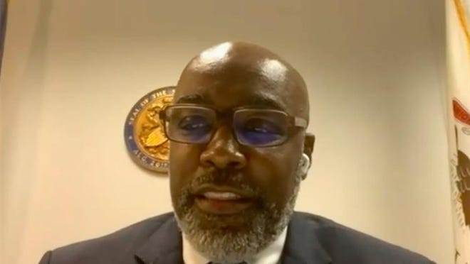 Illinois Attorney General Kwame Raoul testifies before a virtual Senate committee Tuesday regarding the state's system for certifying law enforcement professionals.