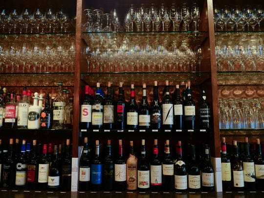 Some of the offered wines at The Vineyard Wine Bar