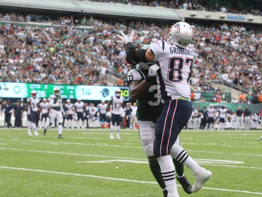Jamal Adams of the Jets gets called for pass interference for this play preventing Rob Gronkowski of the Patriots from making a catch in the end zone. The Patriots scored on the next play.