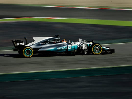 Mercedes driver Lewis Hamilton of Britain steers his car during a Formula One pre-season testing session at the Catalunya racetrack in Montmelo, outside Barcelona, Spain, Tuesday, March 7, 2017. (AP Photo/Francisco Seco)