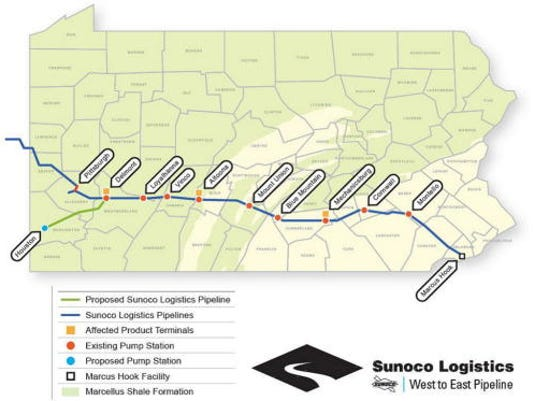 The map shows the Mariner East Project from Marcus Hook in Delaware County to terminal in Delmont. It passes through terminals in Sinking Springs, which is named Montello and in Quentin, which is labeled Cornwall. Sub-Lebanon Daily News