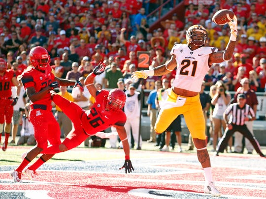 Arizona State's Jaelen Strong makes a one-handed touchdown