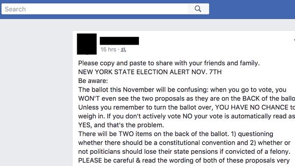 A screen grab of a viral Facebook post containing false