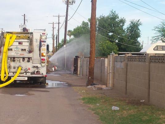 Gas fire in west Phoenix July 2015