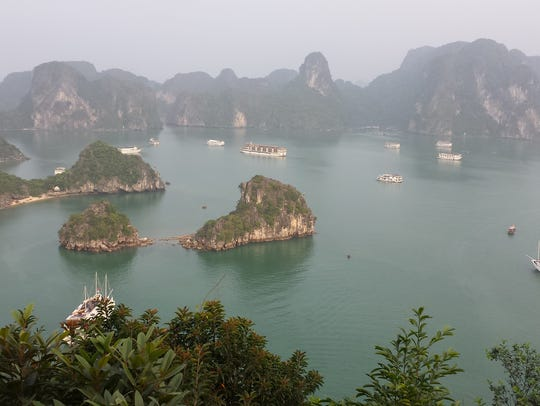A view of Hạ Long Bay, in northeast Vietnam.
