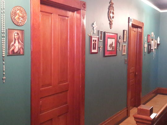 An interior hallway of Rectified, a bed and breakfast in Two Rivers.