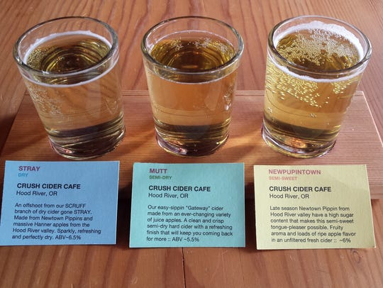 A selection of ciders from Crush Cider Cafe on Wasco