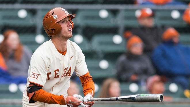 Texas' Kody Clemens watches his home run against Baylor on April 7, 2018.