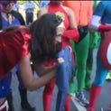 A young burn victim gets a birthday surprise from his favorite superheroes.