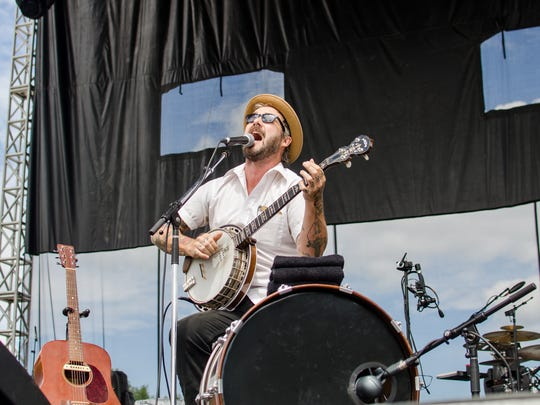William Elliott Whitmore performing on the main stage at the Hinterland Music Festival.