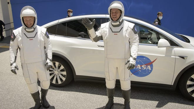 View of Tesla astronauts Bob Behnken and Doug Hurley will ride to the launch pad for SpaceX's Demo-2 mission. NASA