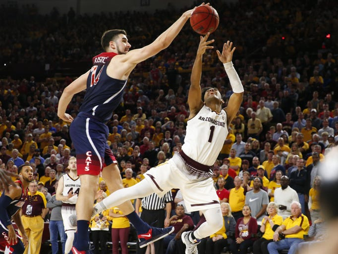 Arizona Wildcats center Dusan Ristic (14) guards Arizona