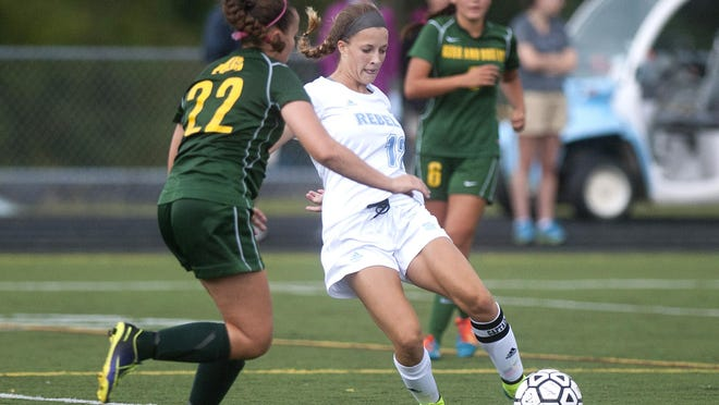 South Burlington's Cameron Peyko (12) controls the ball against Burr and Burton during a girls soccer game earlier this year.