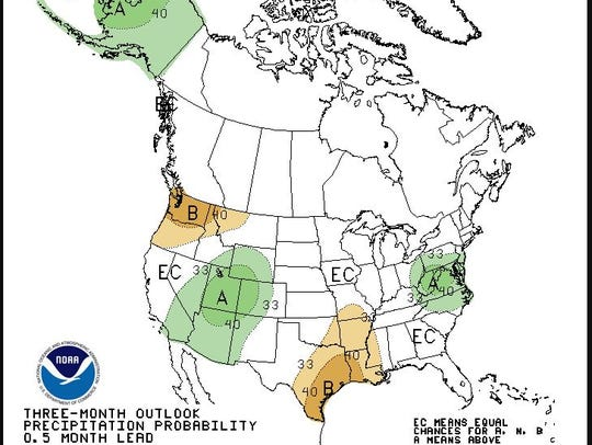 Outlook for precipitation for June-August, 2018 from