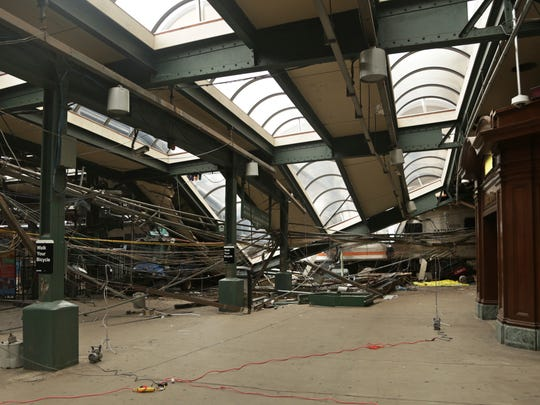 Damage done to the Hoboken Terminal after a commuter train crash that killed one person and injured more than 100 others. New Jersey legislators granted themselves subpoena power as they begin to look into last month's New Jersey Transit train crash.