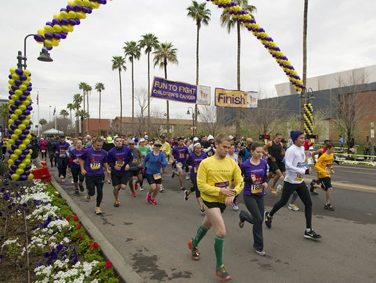 Runners participate in a past Run to Fight Children's