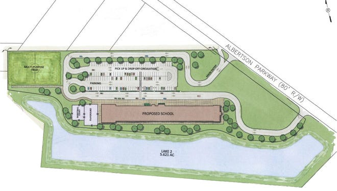 This rendering shows the original site plans for Broussard Charter Academy.