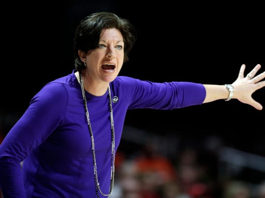 Miami head coach Katie Meier directs her team during the first half of an NCAA college basketball game against Louisville, Thursday, Jan. 25, 2018, in Coral Gables, Fla. Louisville won 84-74. (AP Photo/Lynne Sladky)
