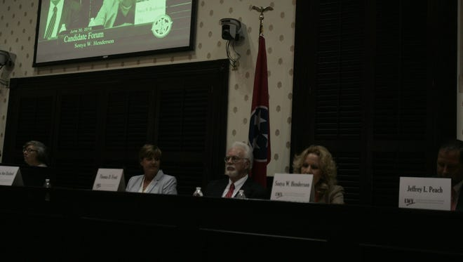 Candidates for the newly created general sessions judge position participated in a forum sponsored by the League of Women Voters on Thursday night at the Rutherford County Courthouse.