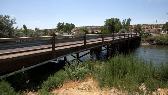 Funds are being sought to replace the bridge over the San Juan River on County Road 5500, pictured in a file photo from June 10, 2017. It was constructed by local farmers and dates to the 1970s.
