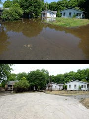 ABOVE: Houses in Allendale when floodwater first started impacting the city. LEFT: The same site a week later.