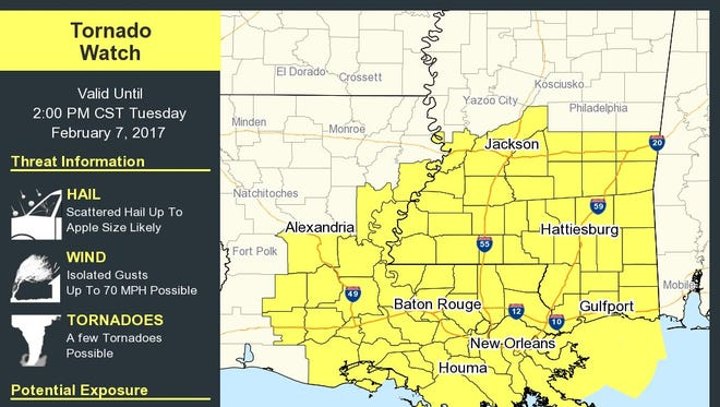 A tornado watch has been issued for several Acadiana parishes.