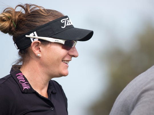 LPGA Tour pro Brittany Lang smiles while playing during the LPGA CME Group Tour Championship Pro-Am at Tiburon Golf Club Tuesday, Nov. 15, 2016 in Naples.