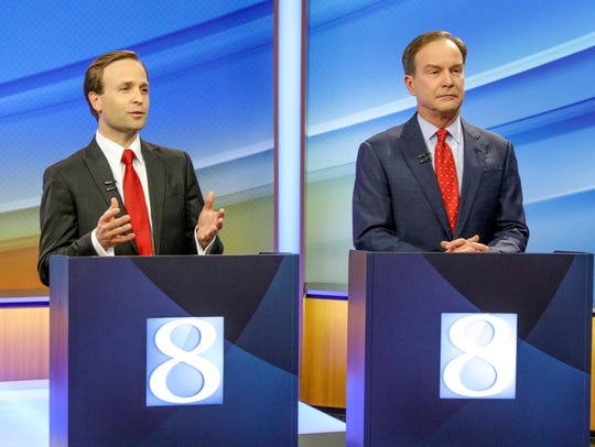 Lt. Gov. Brian Calley and AG Bill Schuette during the