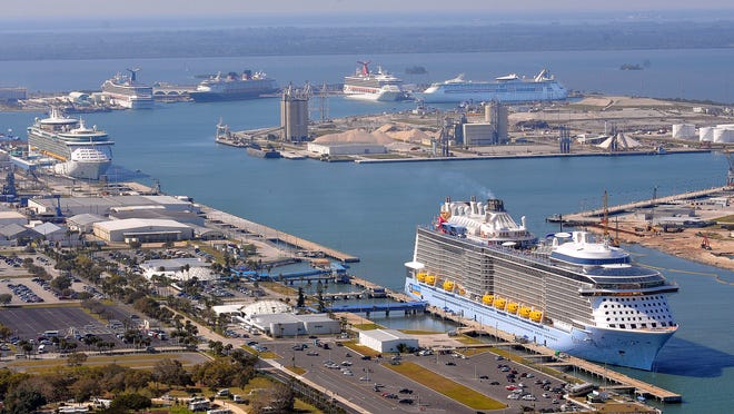 Six large cruise ships have been at Port Canaveral at the same time twice this year, an indication of demand for terminal berths. This aerial photo shows the first time that happened, on Feb. 15.