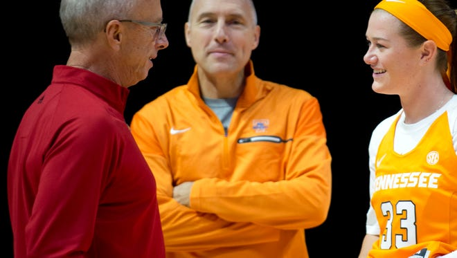 """Tennessee's Alexa Middleton meets with """"Voice of the Lady Vols"""" radio broadcaster Mickey Dearstone, left, and Lady Vols Assistant Coach Dean Lockwood at Media Day on Thursday, October 27, 2016."""