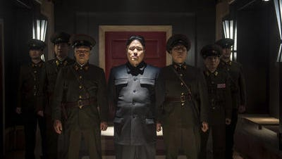 A scene from 'The Interview' showing actor portraying North Korea's Kim Jong Un