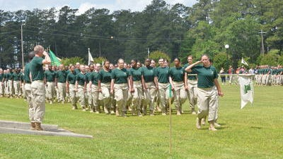 "Louisiana National Guard Youth Challenge Program cadets are shown during last year's ""pass in review"" ceremony. Cadets in the program will conduct a ""pass in review"" ceremony at 10 a.m. Sunday at Camp Beauregard."