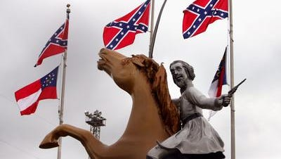 Two Metro council members, including mayoral candidate Megan Barry, are seeking to block this statute of Nathan Bedford Forest from sight on Interstate 65.