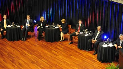 Nashville's mayoral candidates at the second of two televised debates hosted by The Tennessean in June.
