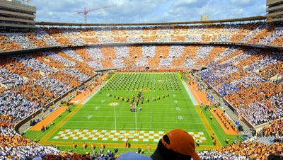 "Vols fans wore orange or white shirts to ""Checker Neyland"" for the 2014 Florida game at Neyland Stadium."