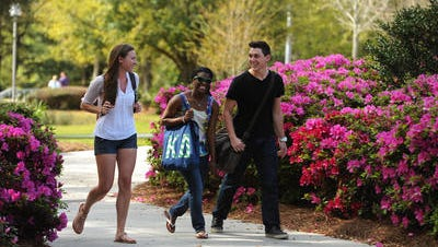 Students enjoy the beautiful grounds of the University of West Florida.