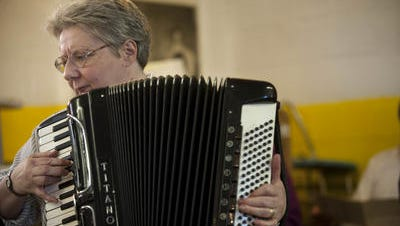 Virtuoso accordionist Joanne Arnold Darrow of the Westmont Accordion School