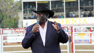 Pat Duval sings the state song at the California Rodeo Salinas in July 2014.