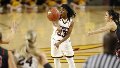 ASU senior point guard Elisha Davis is second in school career assists and ranks third this season in Pac-12 assists and assist-turnover ratio.