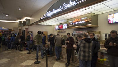 Crowds line up for the premier of 'Star Wars: The Force Awakens' at the Carmike Cinemas in December.