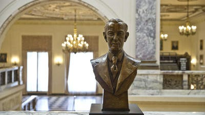 Woodrow Wilson's bust sits inside the Monmouth University hall that bears his name.