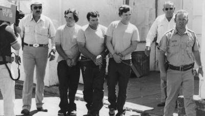 From left: Raymond Tison, Randy Greenawalt and Ricky Tison in shackles after being captured in August 1978.