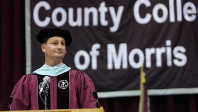 Chairman of the Board of Trustees, Joseph L. Ricca Jr. speaks during the County College of Morris 47th Commencement ceremony. May 27, 2016, Randolph, NJ