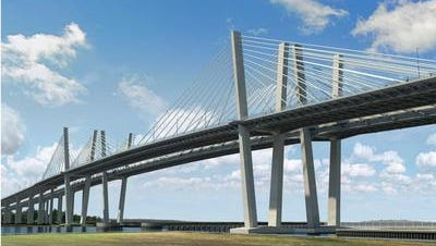 Rendering of the twin cable-stayed spans with three lanes in each direction, shoulders and pedestrian and bicycle walkways that is replacing the Goethals Bridge between New Jersey and Staten Island.