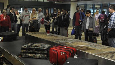 A toilet overflowed and leaked onto a baggage area at Nashville International Airport on Wednesday morning.