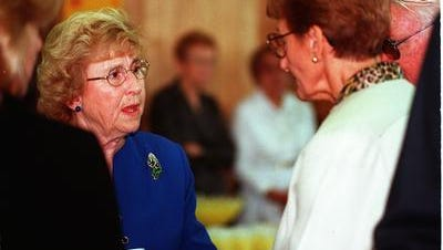 Marge Spezzano at a reception following her husband, Vince's, funera in 1999.